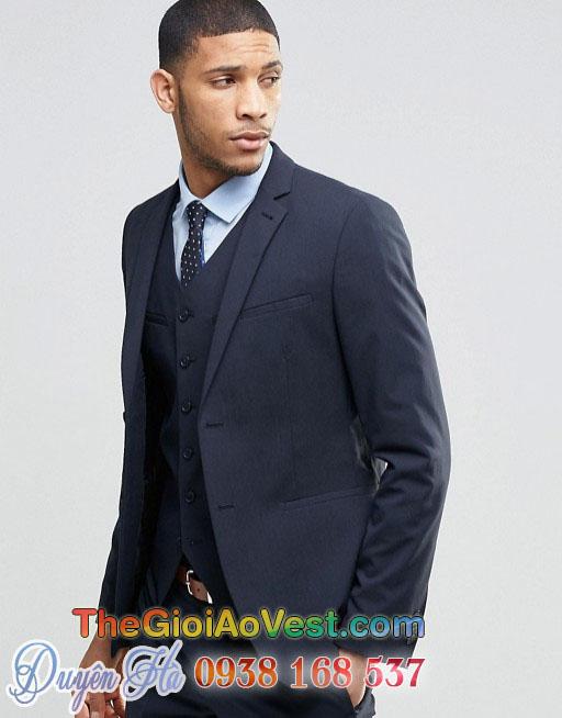 Bộ áo vest nam công sở hiện đại cá tính màu xanh nam tính